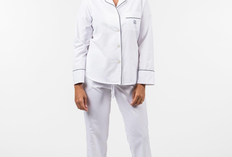 Pijama de mujer kiff kiff largo algodón blanco