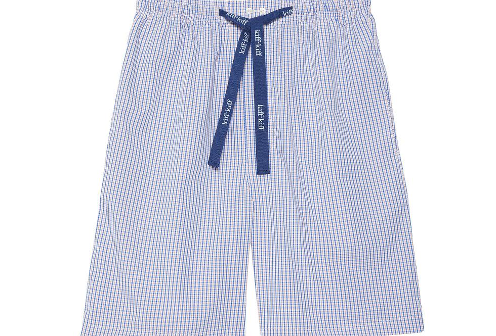 Pantalón de pijama corto de hombre Kiff Kiff de tela con cuadros azul y naranja