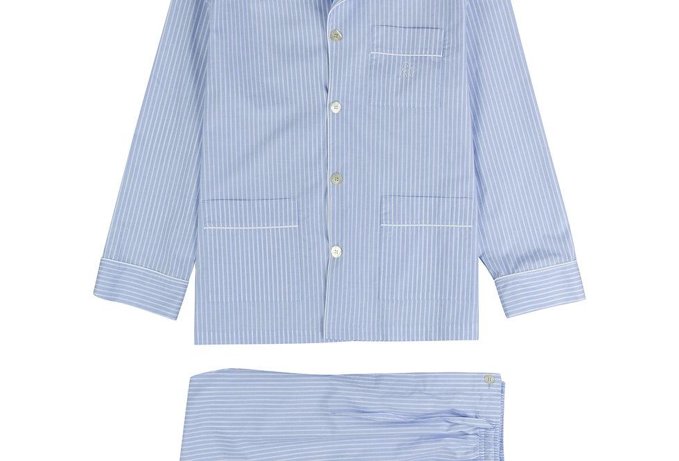 Pijama largo de hombre Kiff Kiff de tela con rayas blancas
