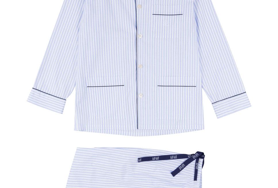 Pijama largo de hombre de tela de popelín con rayas