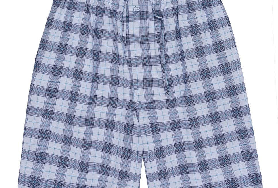 Pantalón de pijama corto de hombre Kiff Kiff de tela con cuadros azules.