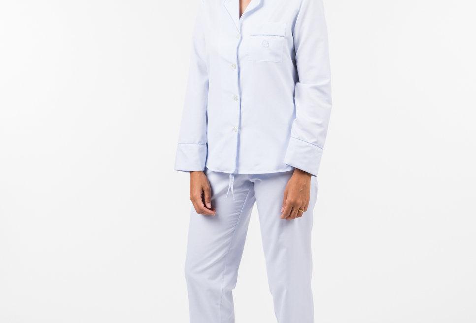 Pijama de mujer kiff kiff largo algodón azul claro