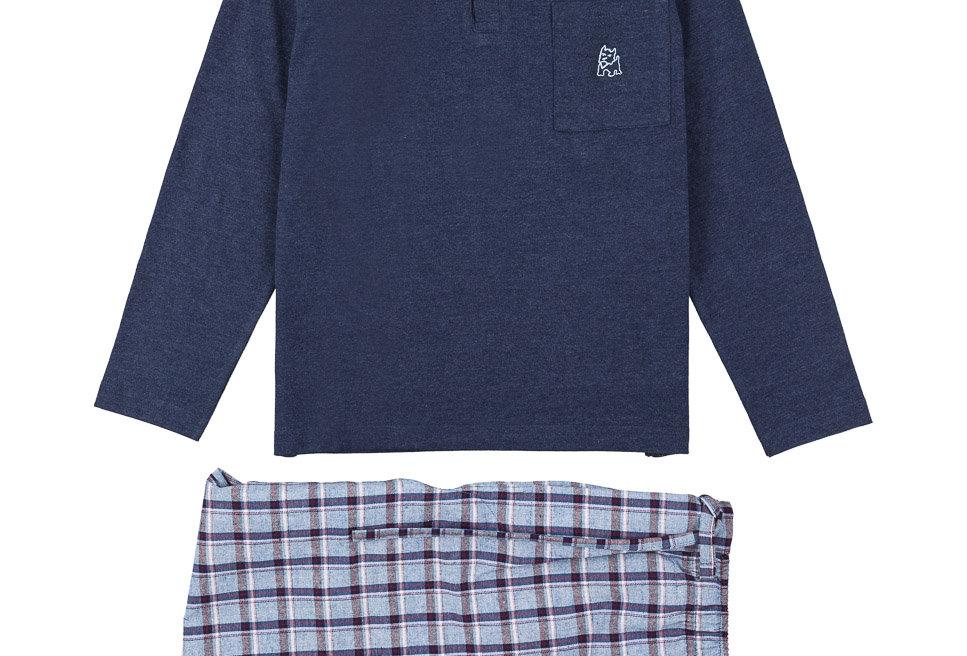 Pijama de niño largo combinado de algodón en color azul