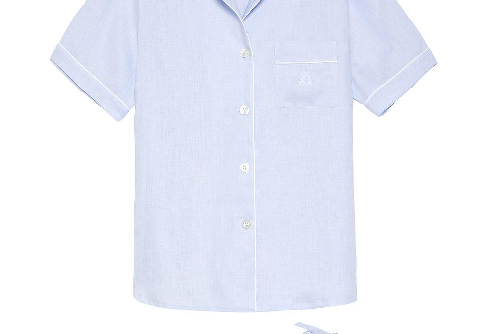 Pijama de mujer kiff kiff corto de lino azul claro