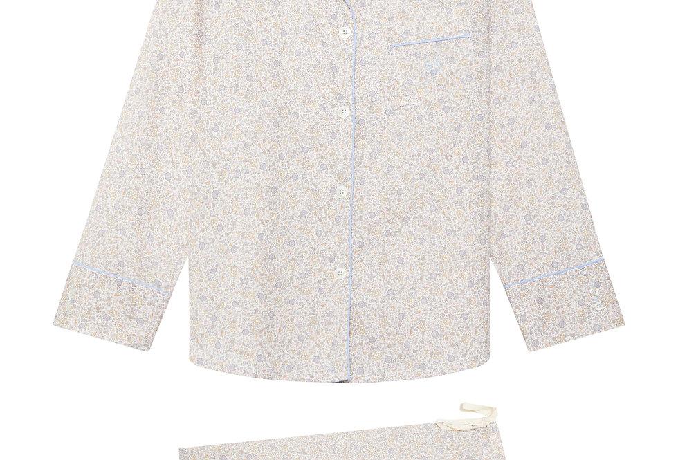 Pijama de mujer largo de algodón beige con florecitas