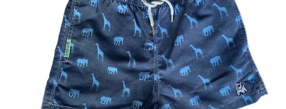 Bañador bermuda de niño azul lavado estampado Animales