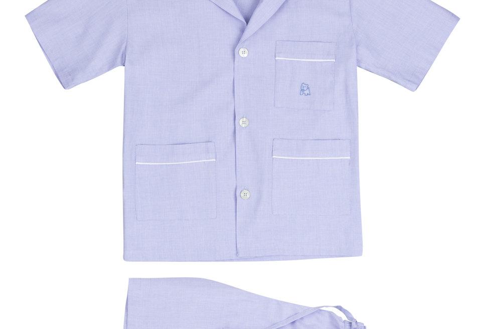 Pijama de niño Kiff Kiff corto en tela azul