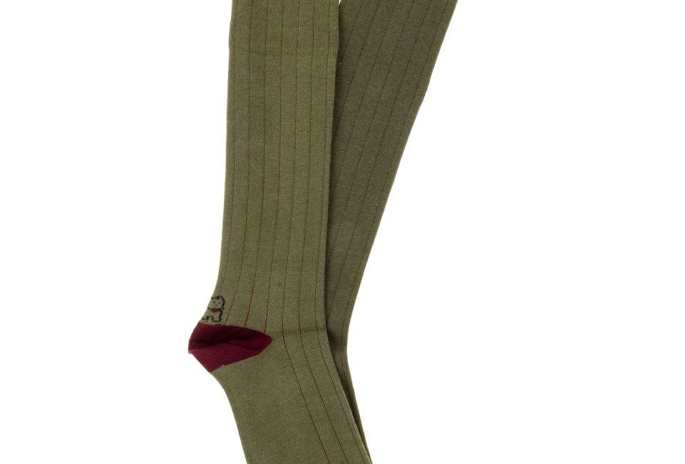 Calcetines caña alta de hombre Kiff Kiff verde caza falso canalé