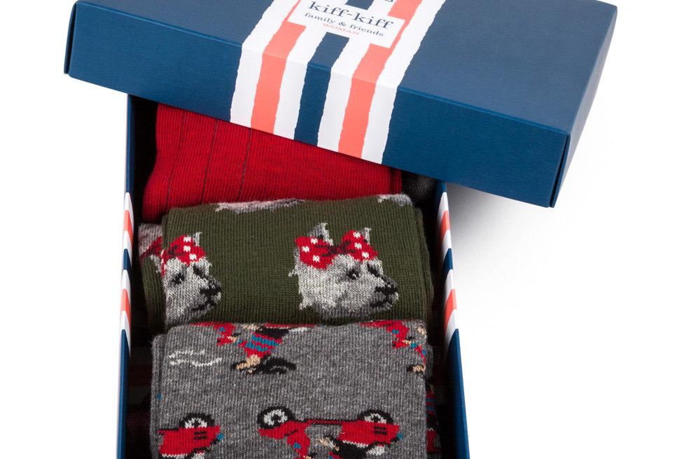 Pack de tres pares de calcetines media caña fantasía