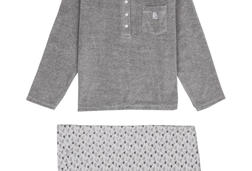 Pijama de mujer largo de algodón combinado en gris