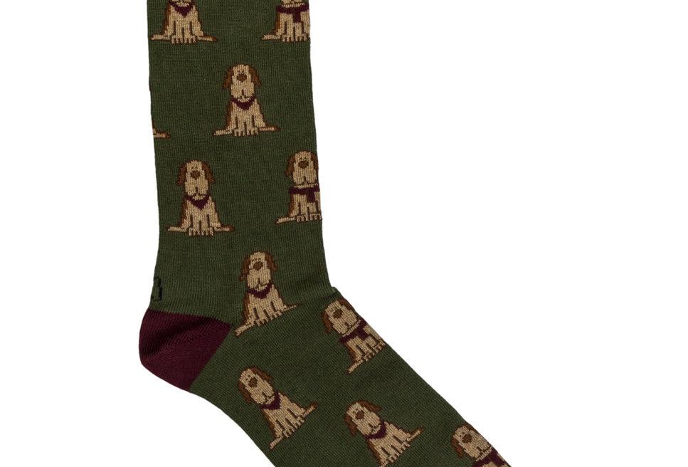 Calcetines media caña de hombre Kiff Kiff verde estampado