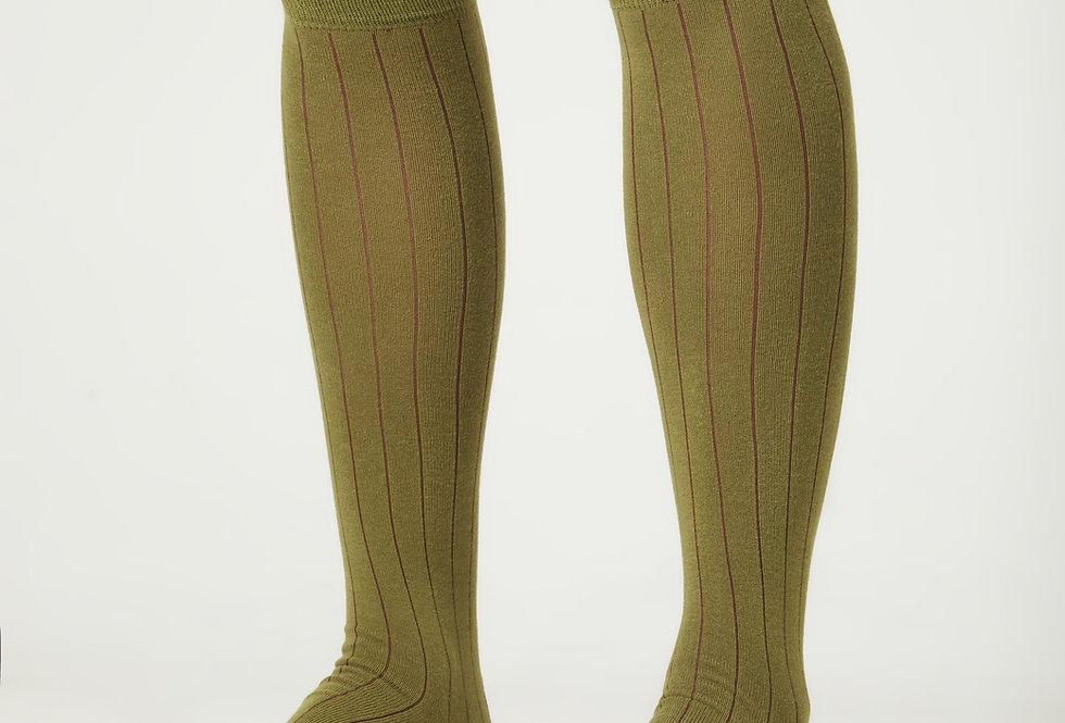 Calcetines caña alta de hombre Kiff Kiff verde musgo falso canalé