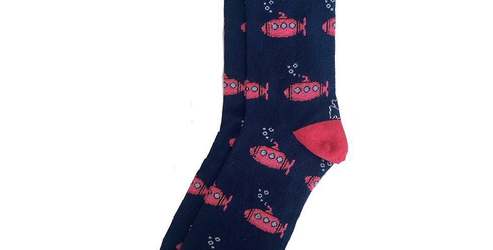 Calcetín media caña de mujer Kiff Kiff azul con estampado de submarino rosas