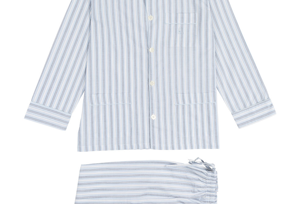 Pijama largo de hombre Kiff Kiff de tela blanca con rayas