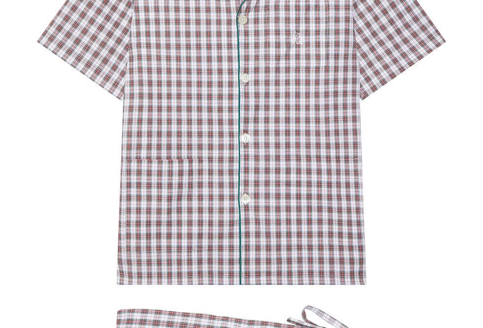 Pijama corto de hombre Kiff Kiff de tela  cuadro escocés