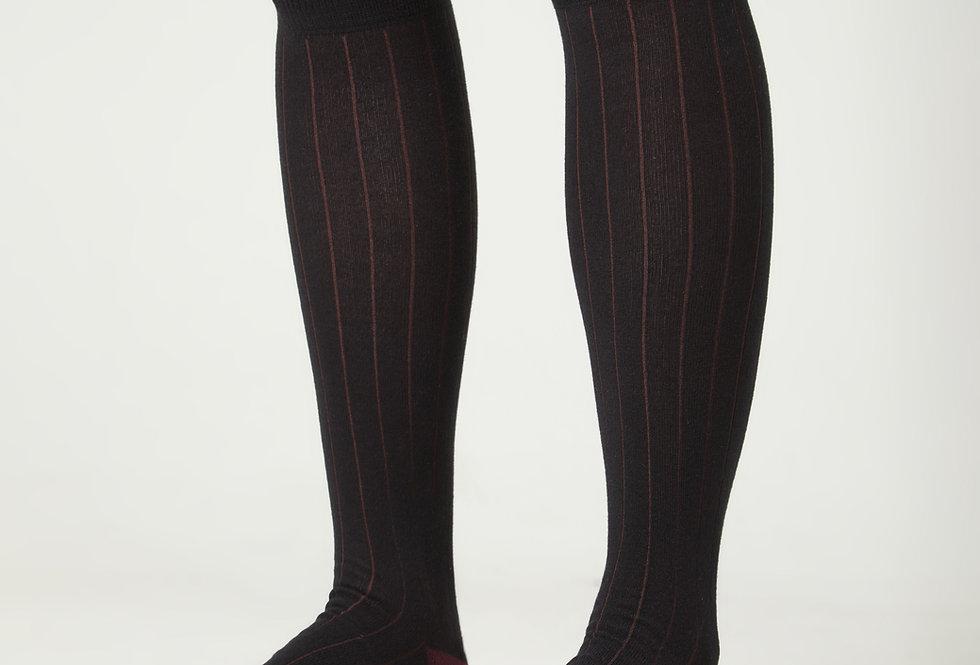 Calcetines caña alta de hombre Kiff Kiff negro falso canalé