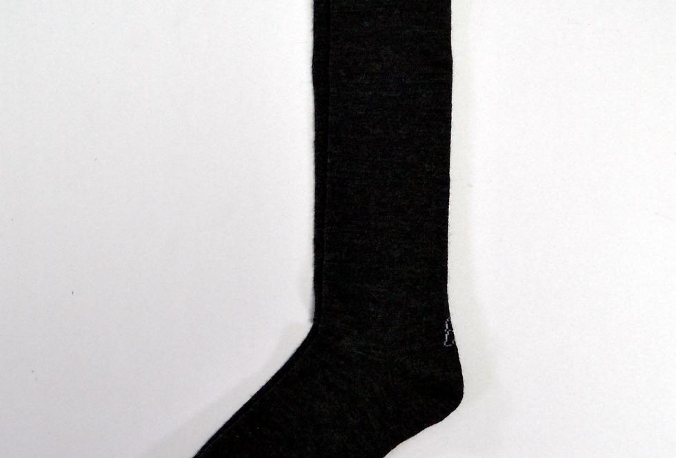 Calcetines caña alta de mujer Kiff Kiff lana gris marengo con greca.