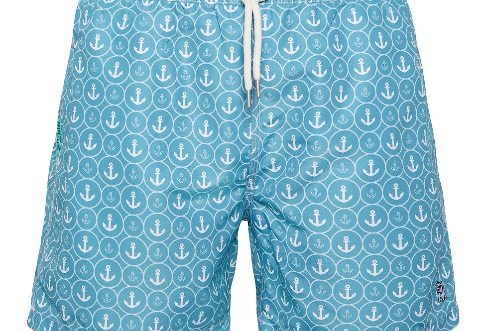 Bañador bermuda hombre Kiff Kiff azul celeste con estampado Anclas