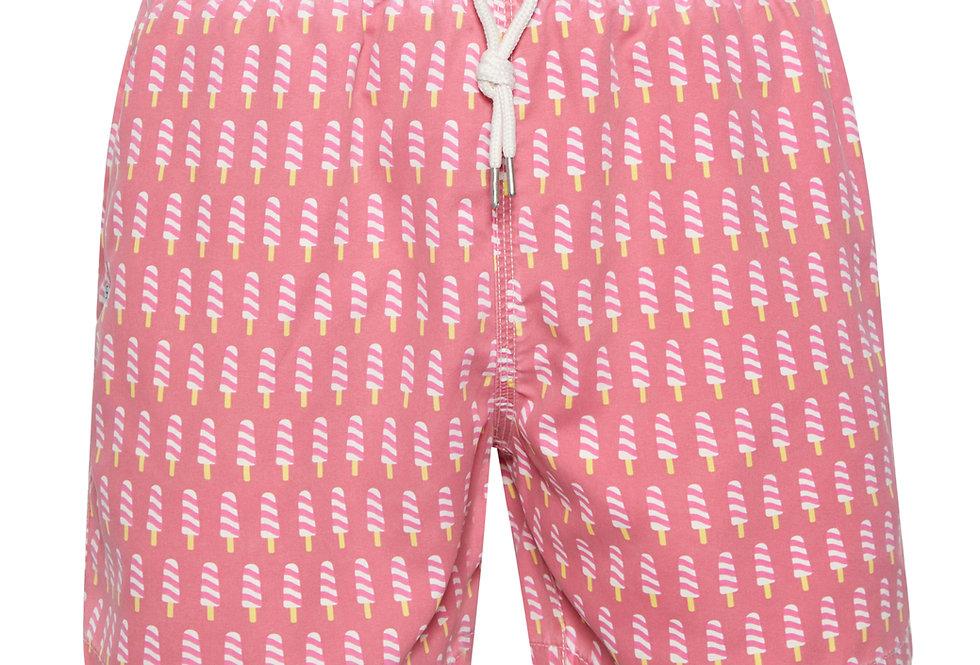 Bañador bermuda hombre Kiff Kiff rosa lavado estampado Polos
