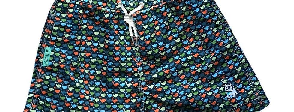 Bañador bermuda de niño azul estampado Ballenas