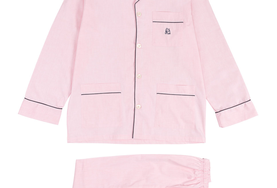Pijama largo de hombre de tela de algodón rosa