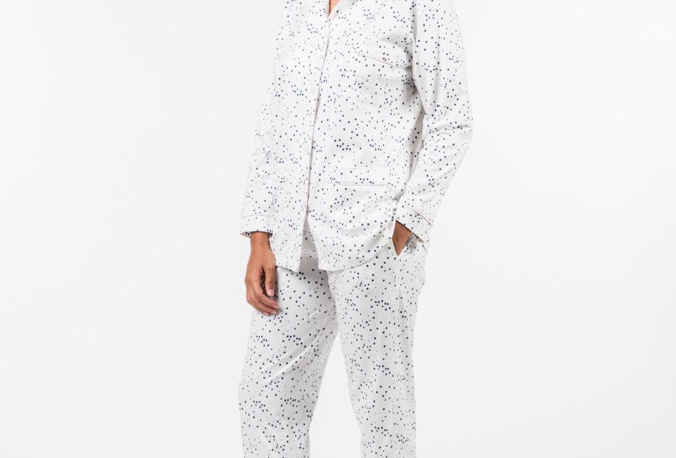 Pijama de mujer largo de punto de algodón blanco estampado