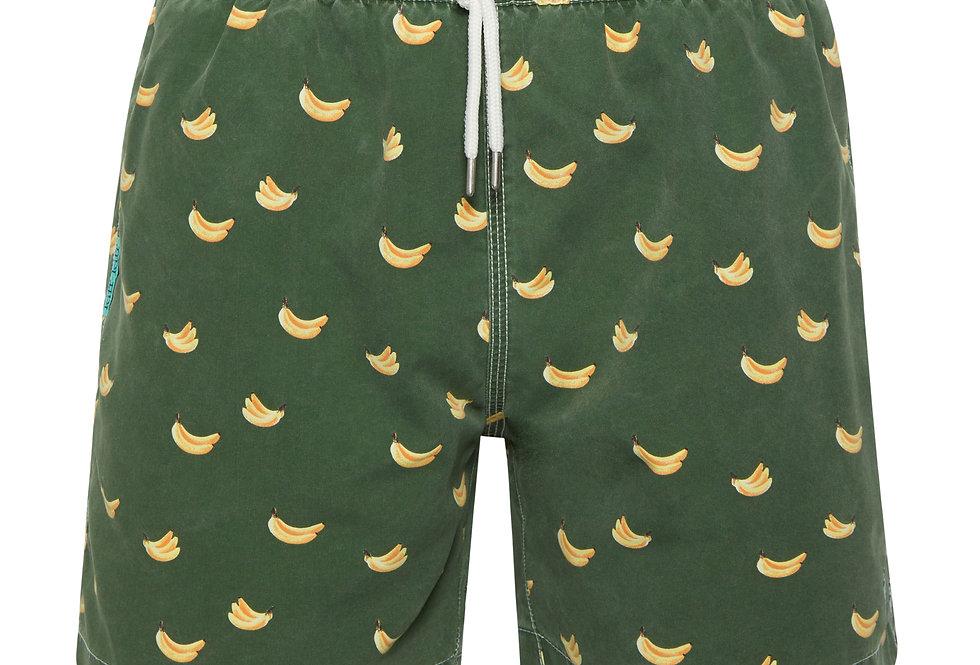 Bañador bermuda hombre Kiff Kiff verde lavado estampado Platanos