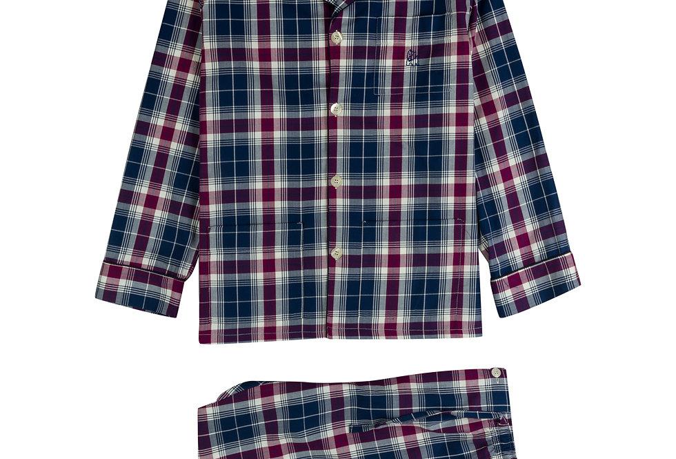 Pijama largo de hombre de tela de algodón con cuadros