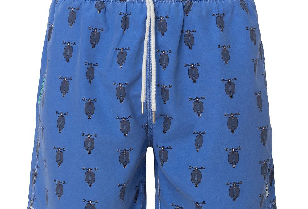 Bañador bermuda hombre Kiff Kiff azul lavado estampado Vespas