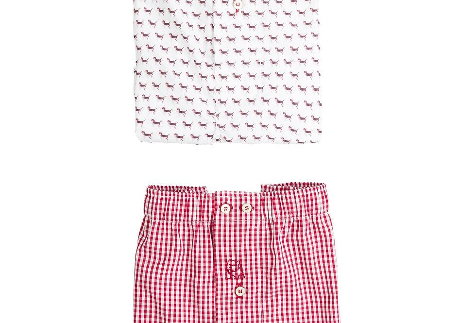 Pack de dos bóxer de tela de hombre Kiff Kiff perros/cuadro vichy rojo