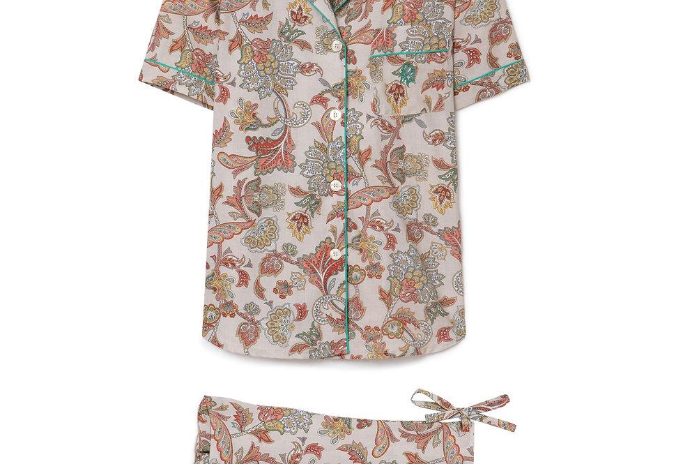 Pijama de mujer kiff kiff corto de flores beige