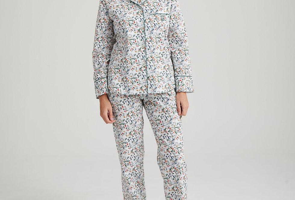 Pijama de mujer largo de algodón blanco estampado flores