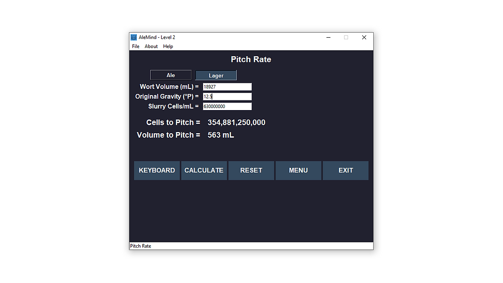 brewing software for calculating pitch rate