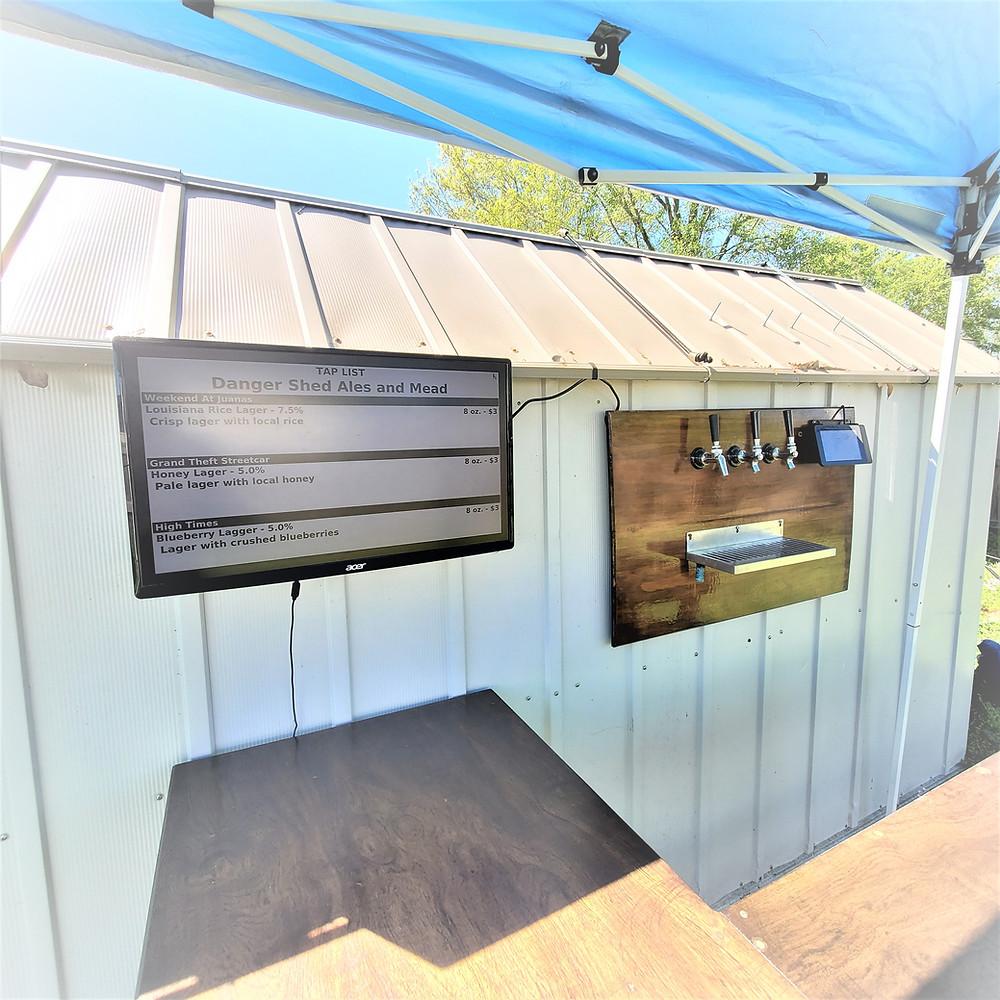 an outdoor bar in a backyard