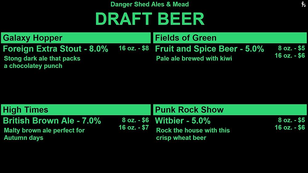 Keg Punk tap list display screen