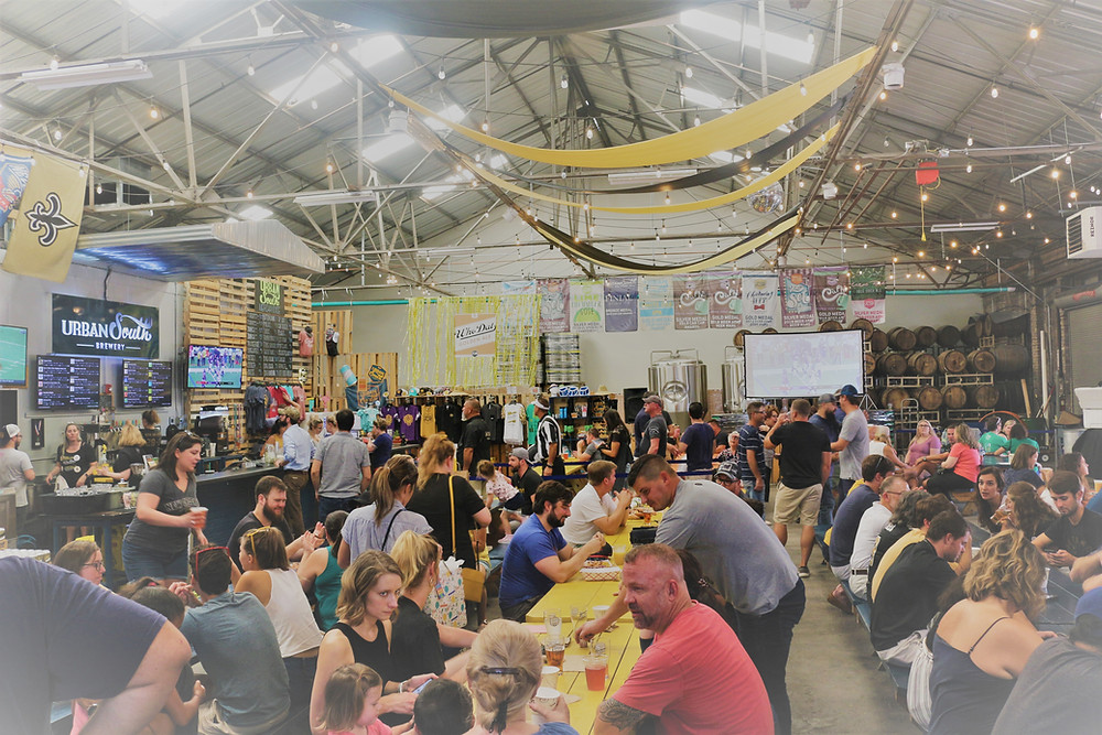 Brewery taproom with people