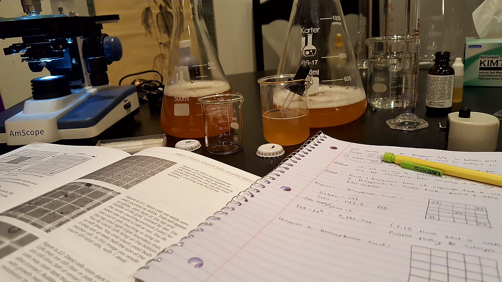 lab equipment and notebooks
