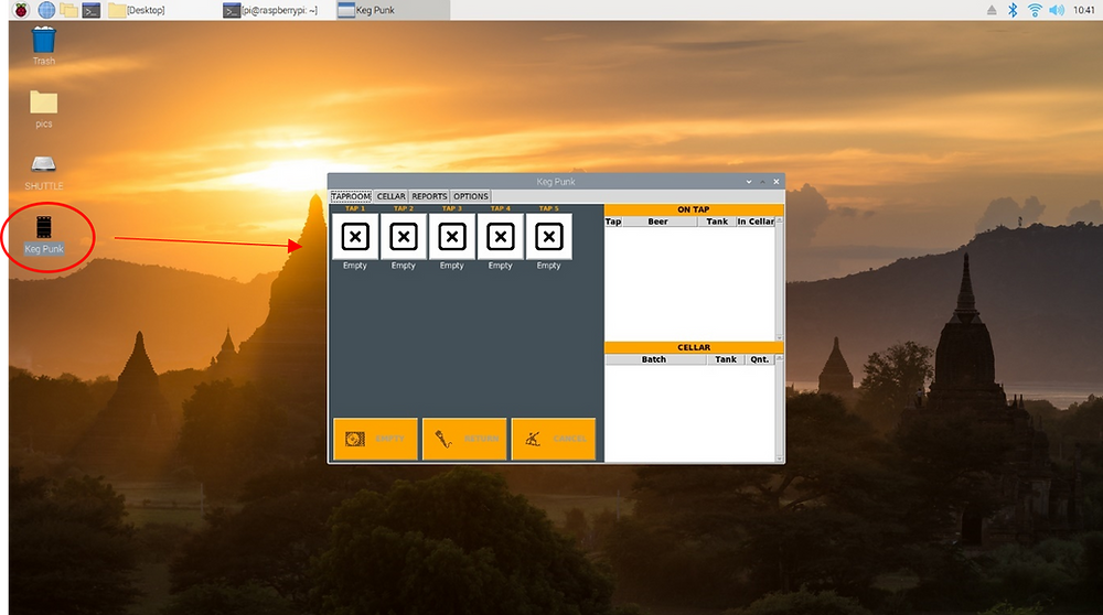 Raspberry Pi desktop screen and GUI