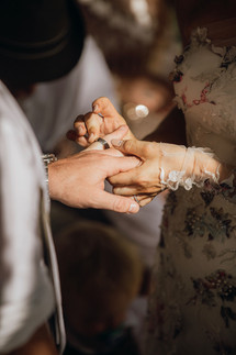 Exchange of rings at Cala Gracioneta Wedding
