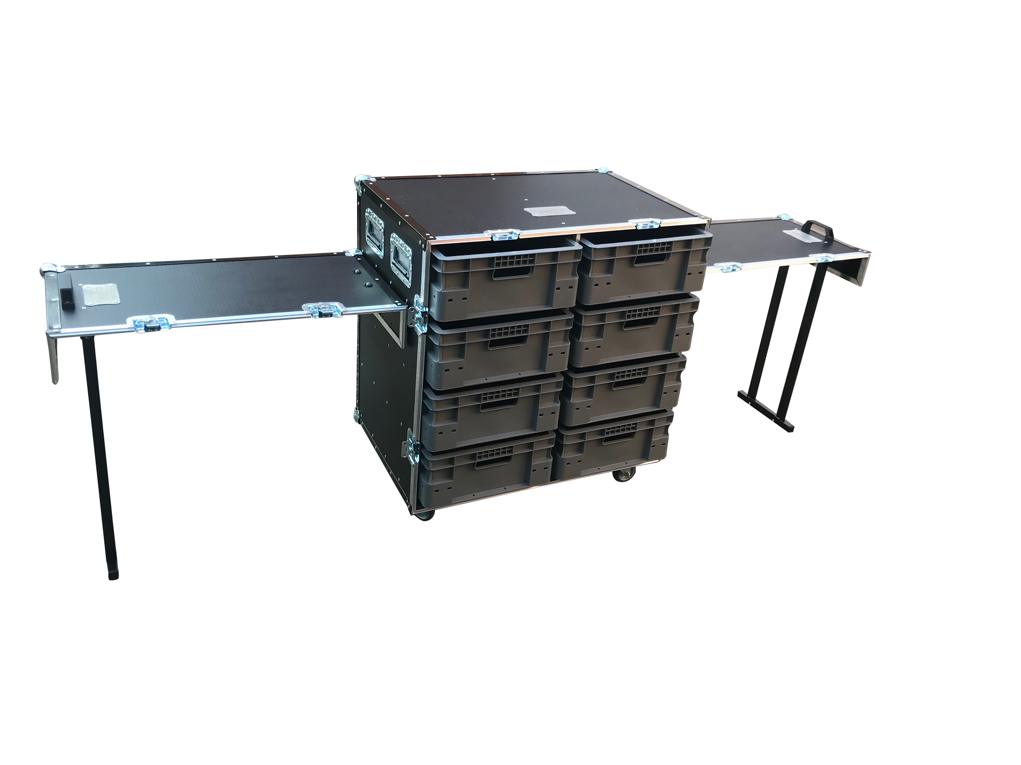 Small flight case with removable boxes
