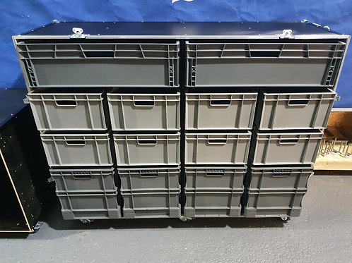 Roll Cabinet Flight Case With 14 Removable Boxes