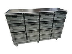 Large flight case with euro container boxes