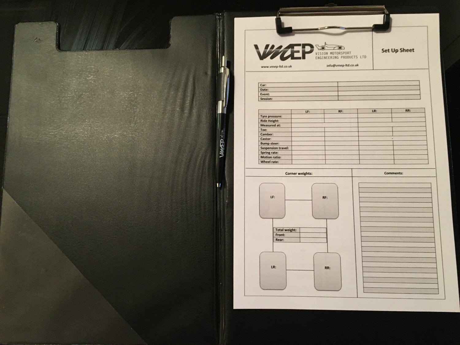 Race car set up track sheets