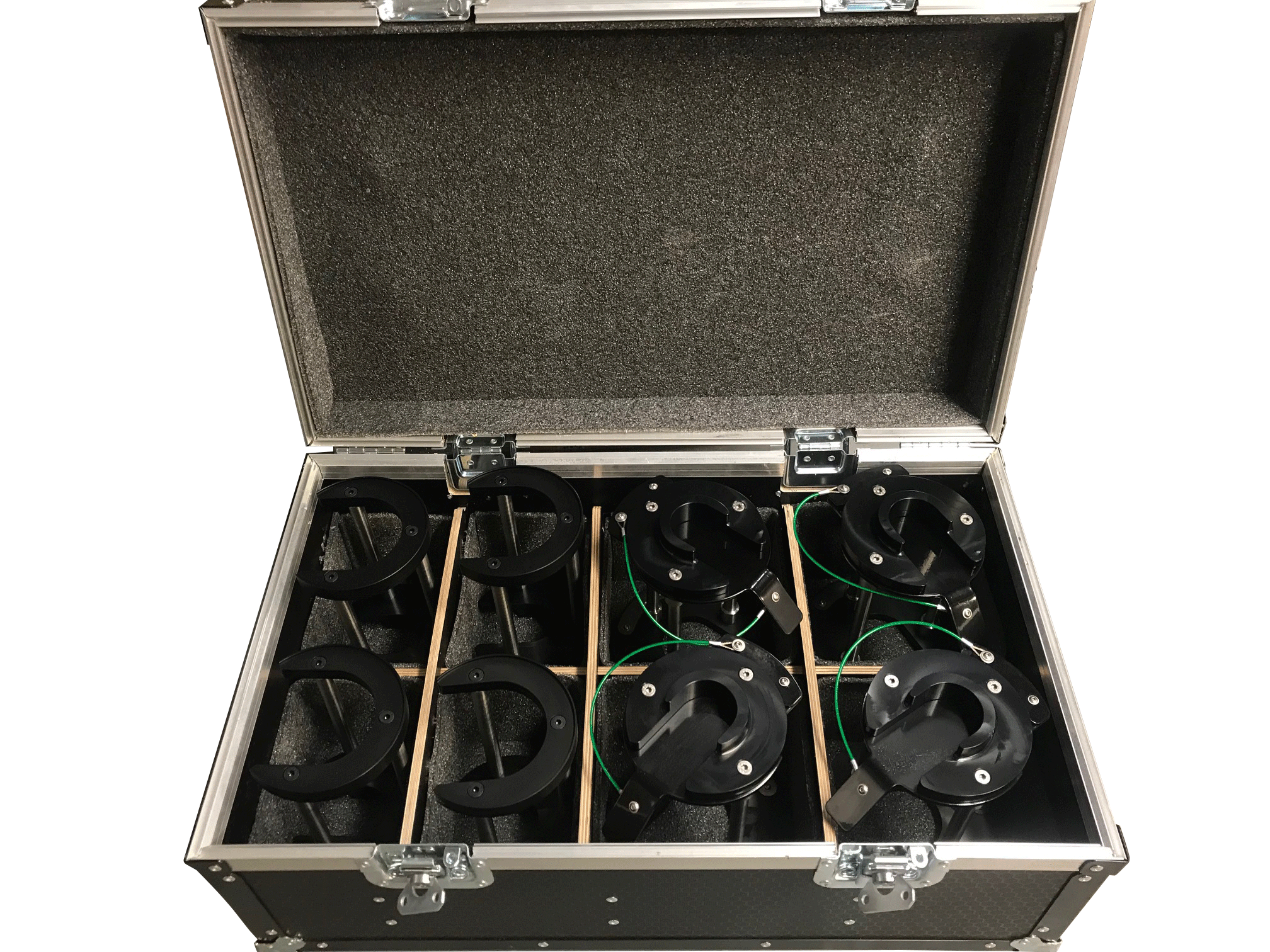 Two stage air jack feet with case