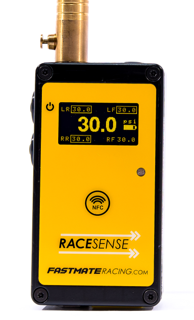 Tyre pressure gauge for motorsport