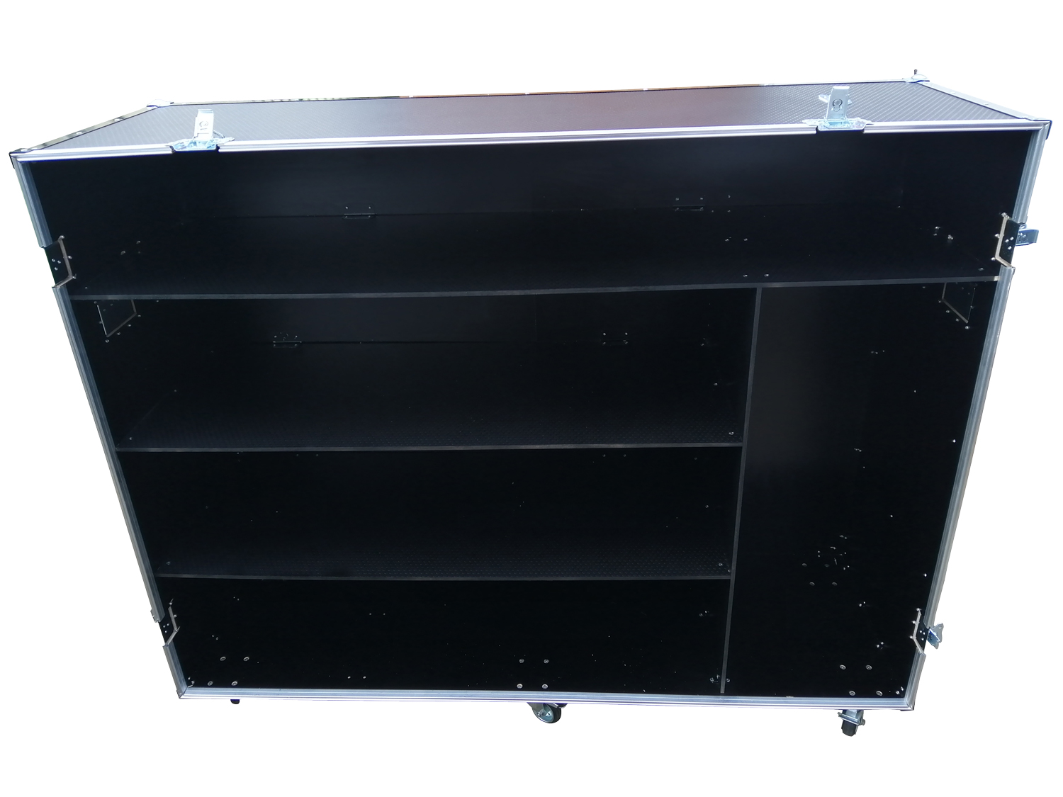 Divided flight case for parts storage