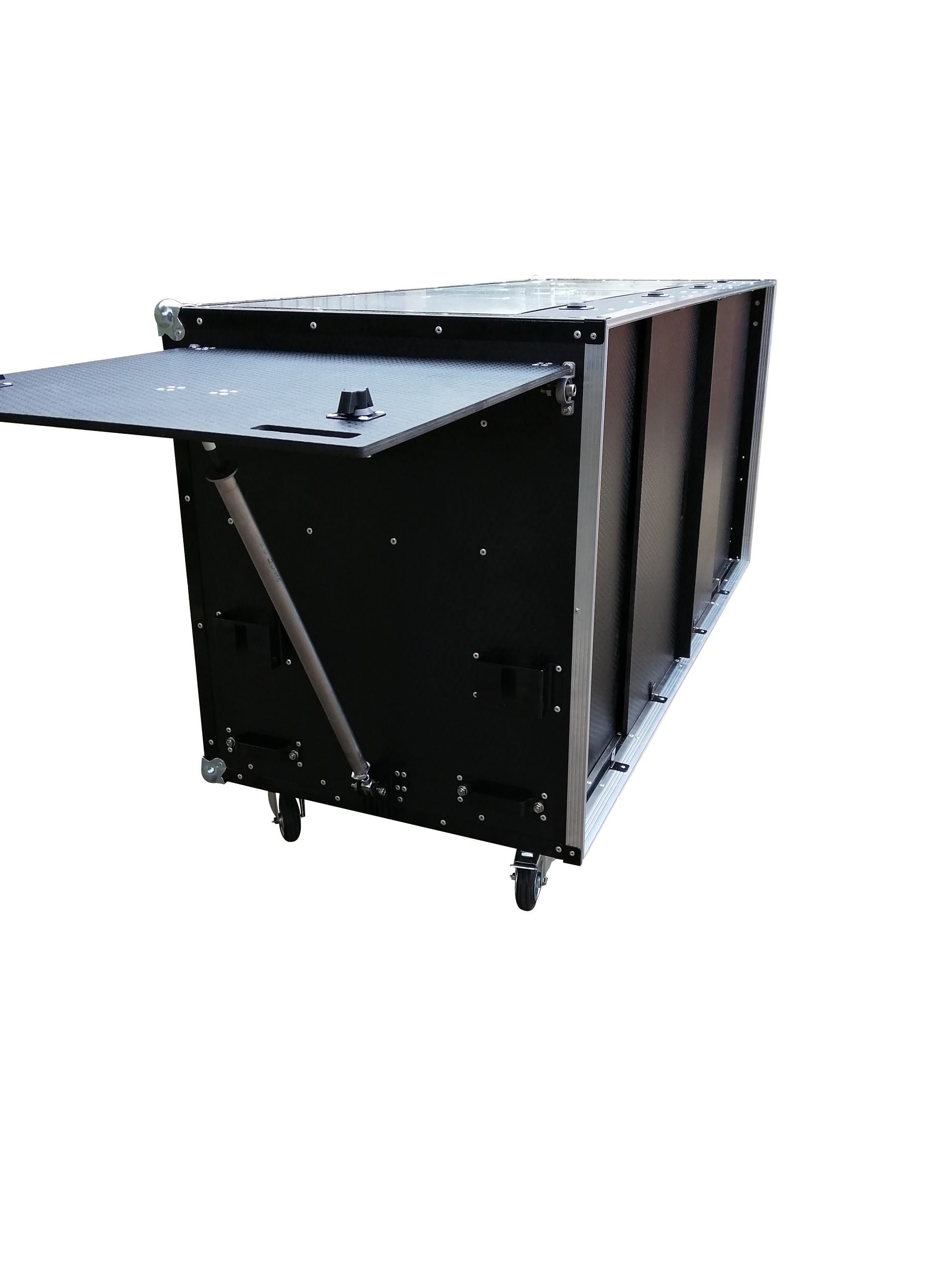 Flight case with fold out table