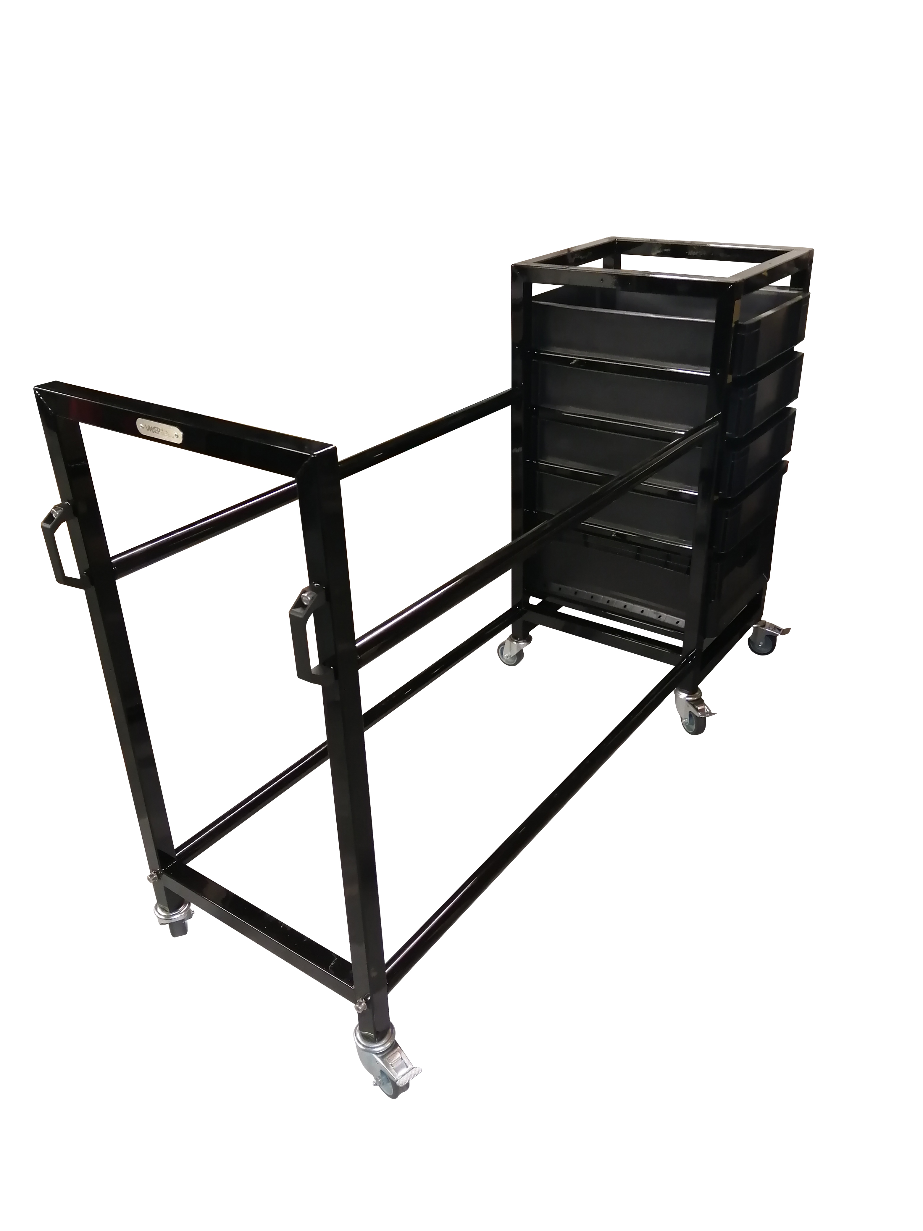 Tyre rack with removable euro boxes
