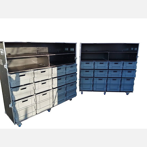 Wheeled Roll Cabinet With Storage Boxes & Shelves (single piece front cover)