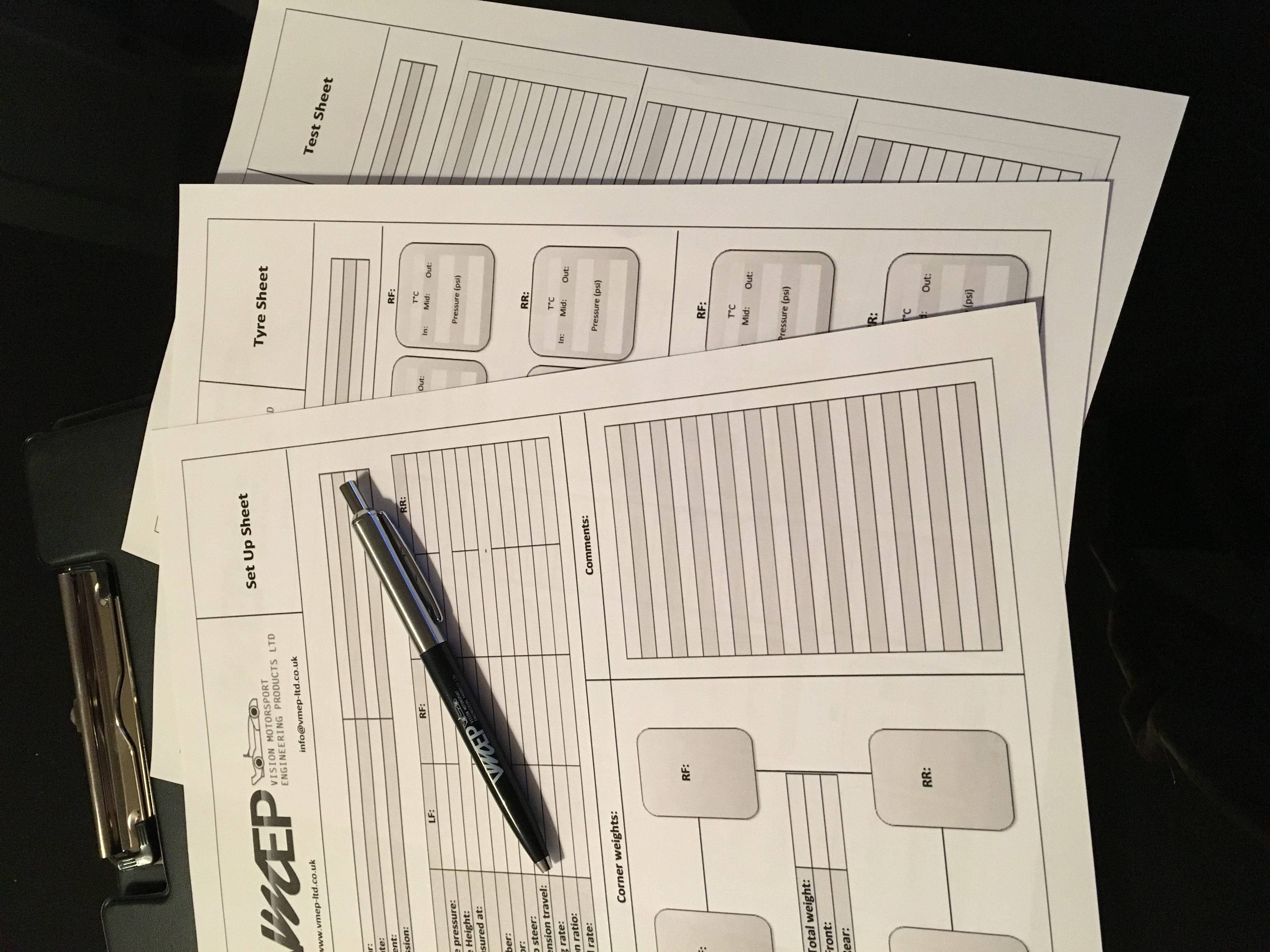 Race car set up sheets